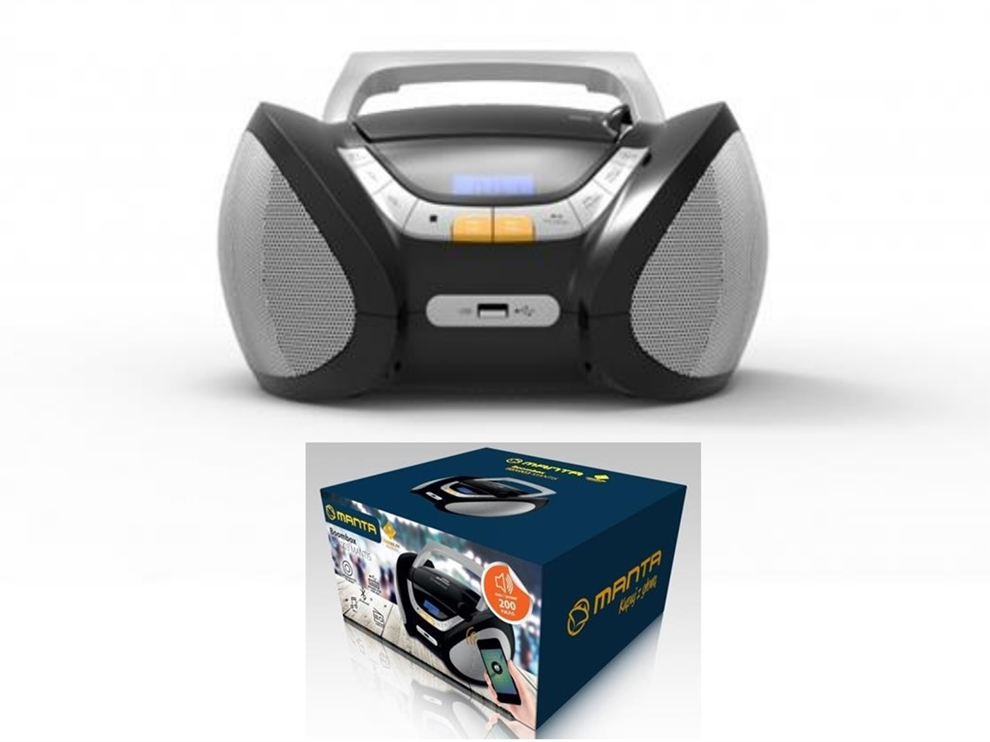 MANTA CD player, Bluetooth, FM/AM, USB, MP3, LCD, DC + baterije BBX003